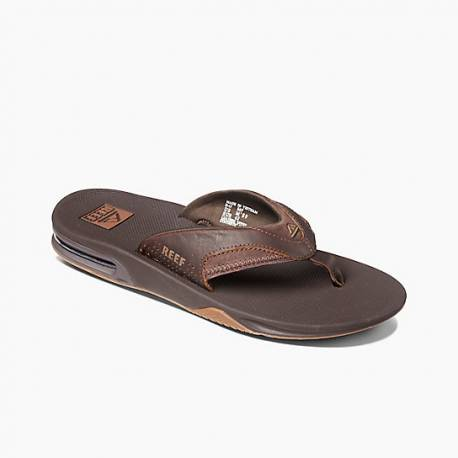 Reef Leather Fanning Slippers Brown