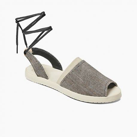 Reef Daisy Ankle Wrap Flats Sandals Black