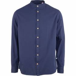 Kronstadt Johan Herringbone Cotton Henley Shirt - Navy